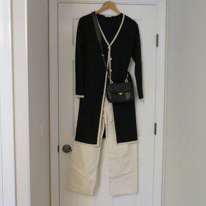 PRINCIPLES UK - Long black, cream edged cardigan.